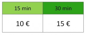 """Tableau de prix des options """"chouchoutage"""" selon si c'est 15mn ou 30 mn, respectivement 10€ ou 15€"""