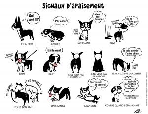 dessin de Doggie Drawings expliquant les différents signaux d'apaisement