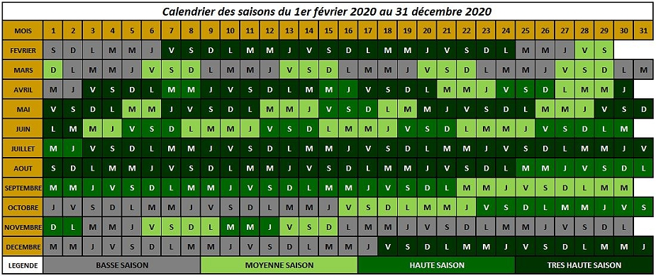 calendrier des quatre saisons de pension au Bois du Roy
