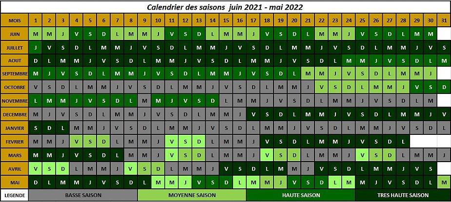 calendrier des saisons 2021-2022